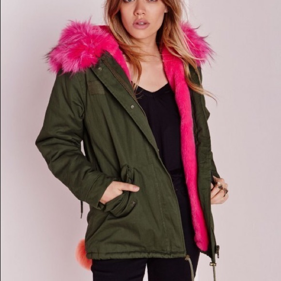 Missguided Jackets & Blazers - Missguided Pink And Green Parka Fur Trim Coat